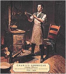 Charles Goodyear bei seinen Versuchen zum Vulkanisieren von Gummi mit Schwefel